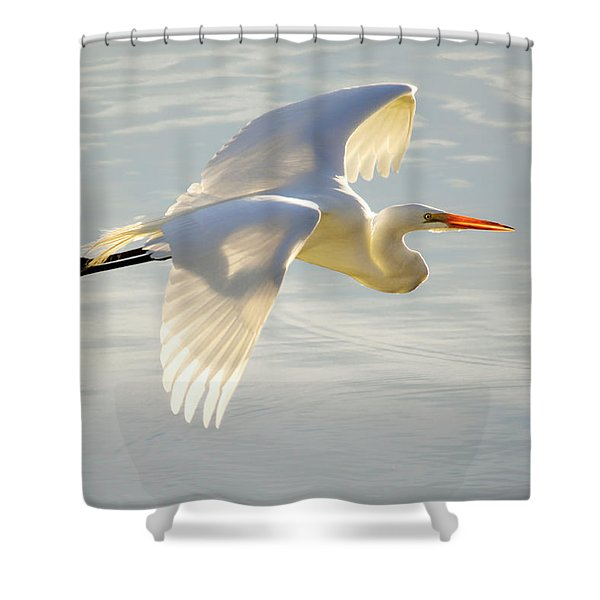 Great Egret Glow Shower Curtain