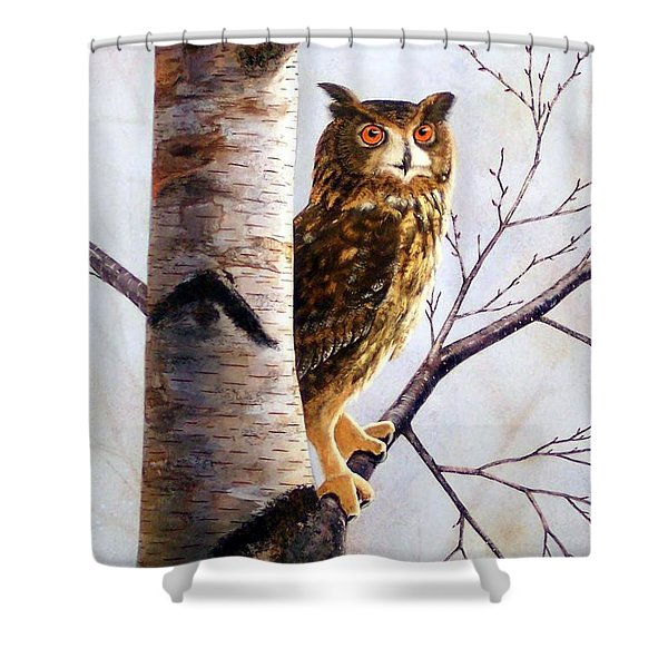 Great Horned Owl In Birch Shower Curtain