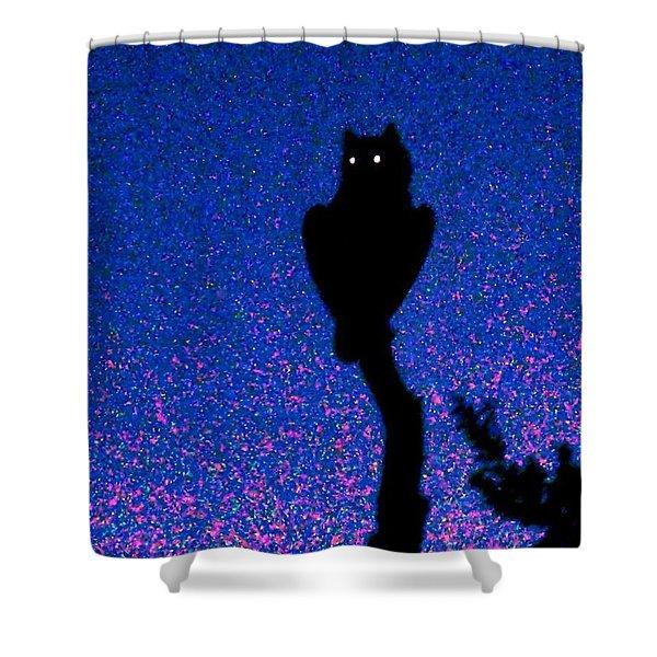 Great Horned Owl In The Desert Shower Curtain