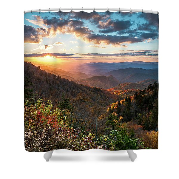 Great Smoky Mountains National Park Nc Scenic Autumn Sunset Landscape Shower Curtain