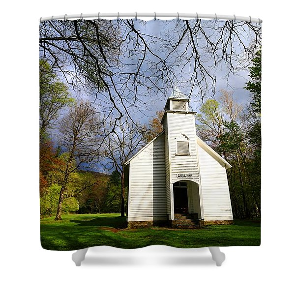 Great Smoky Mountains Spring Storms Over Palmer Chapel  Shower Curtain