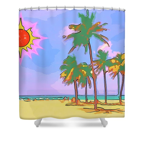 Great Vacation On The Caribbean With Palm Trees, Sand, Blue Sky And Red Yellow Sun Shower Curtain