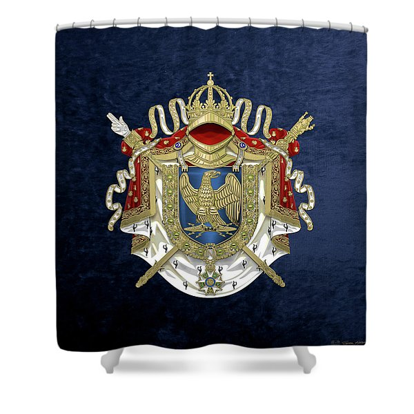 Greater Coat Of Arms Of The First French Empire Over Blue Velvet Shower Curtain