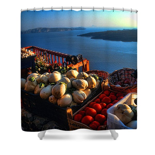 Greek Food At Santorini Shower Curtain