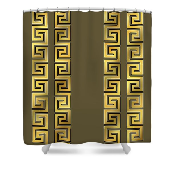 Greek Gold Pattern - Chuck Staley Shower Curtain