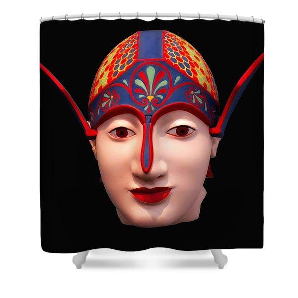 Greek Warrior Head Shower Curtain