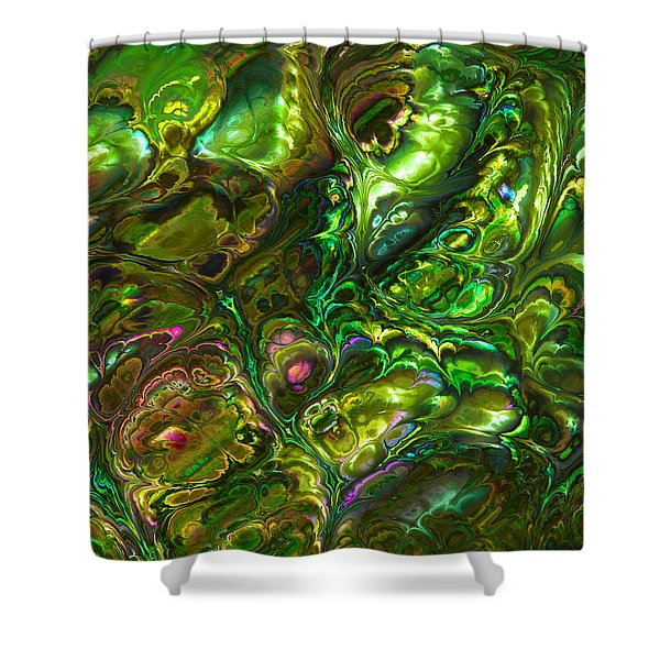 Green Abalone Abstract Shower Curtain