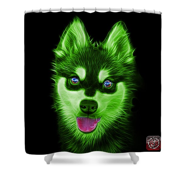 Green Alaskan Klee Kai - 6029 -bb Shower Curtain