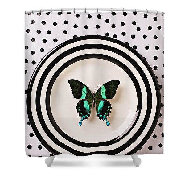 Green And Black Butterfly On Plate Shower Curtain