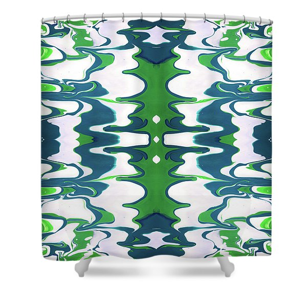 Green And Blue Swirl- Art By Linda Woods Shower Curtain