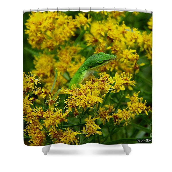 Green Anole Hiding In Golden Rod Shower Curtain