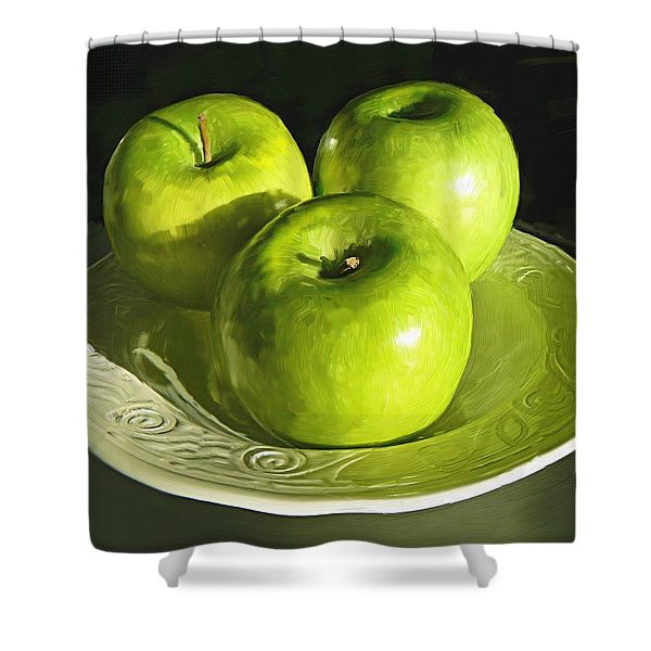 Green Apples In A White Bowl Shower Curtain