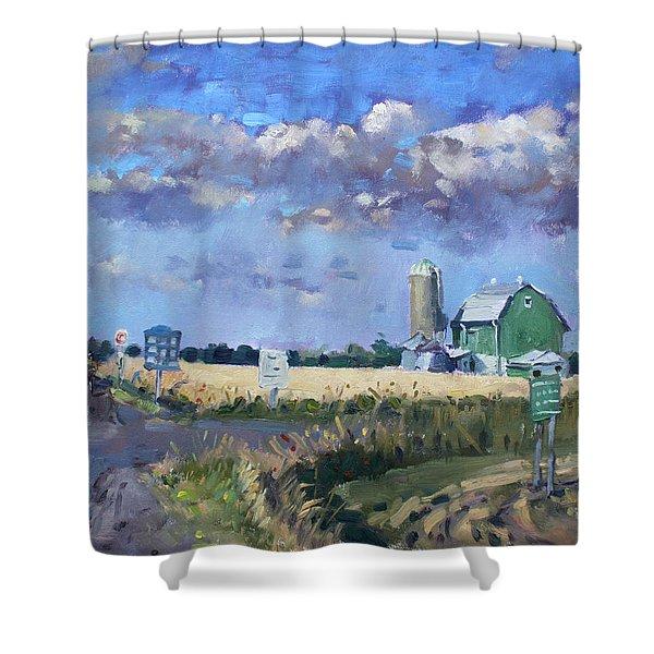 Green Barn In Glen Williams On Shower Curtain