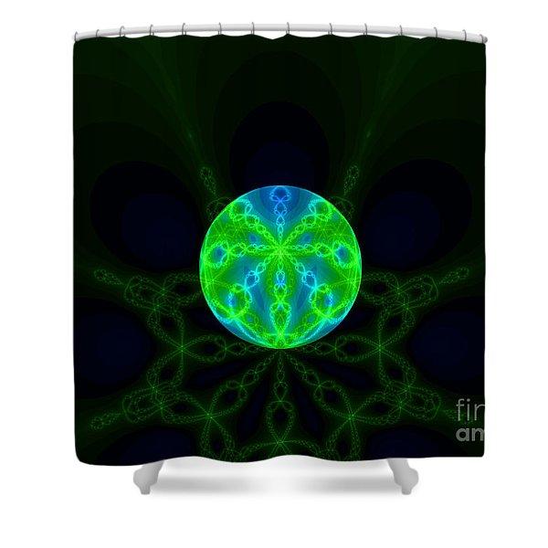 Green Blue World Fractal  Shower Curtain