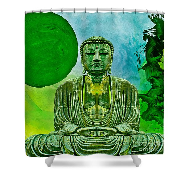 Green Buddha Shower Curtain