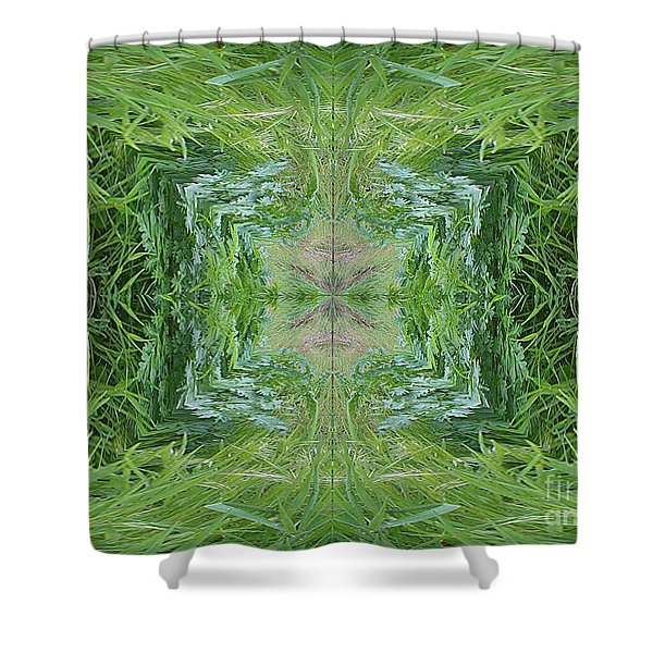 Shower Curtain featuring the digital art Green Fractal by Charles Robinson
