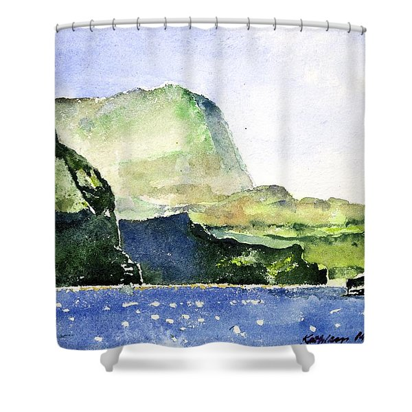 Green Cliffs And Sea Shower Curtain
