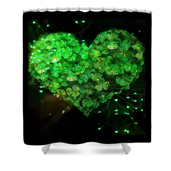 Green Clover Heart Shower Curtain
