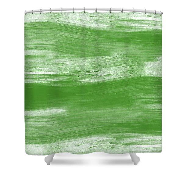 Green Drift- Abstract Art By Linda Woods Shower Curtain
