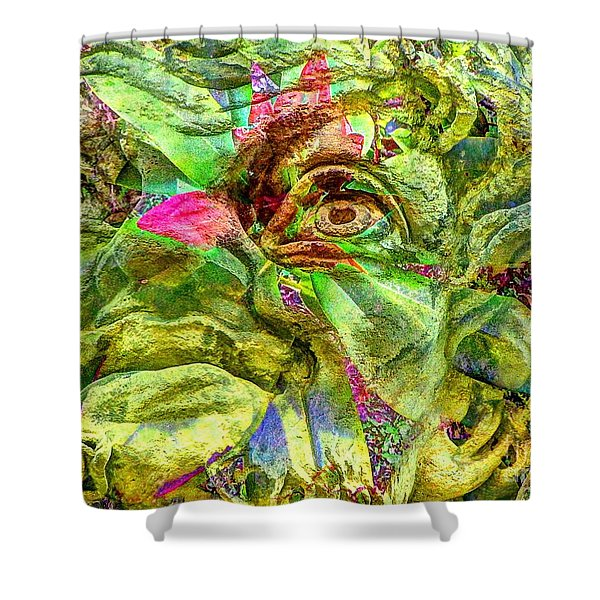 Green Face Shower Curtain