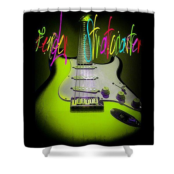 Green Stratocaster Guitar Shower Curtain