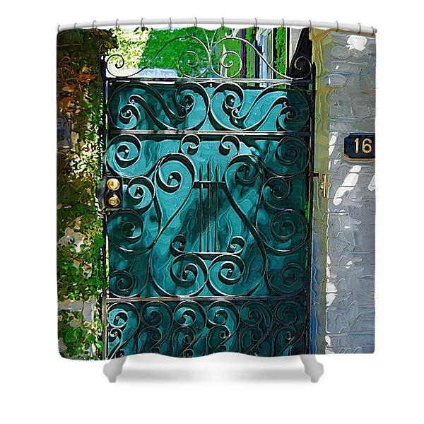Green Gate Shower Curtain