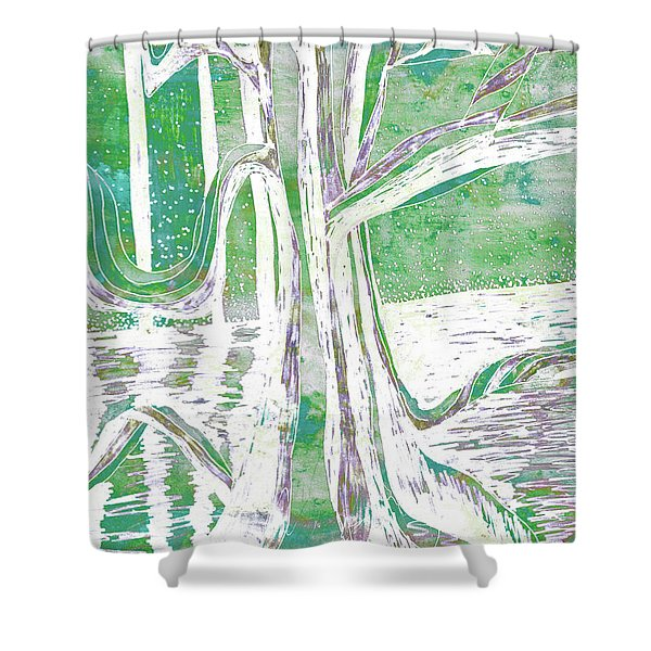 Green-grey Misty Morning River Tree Shower Curtain