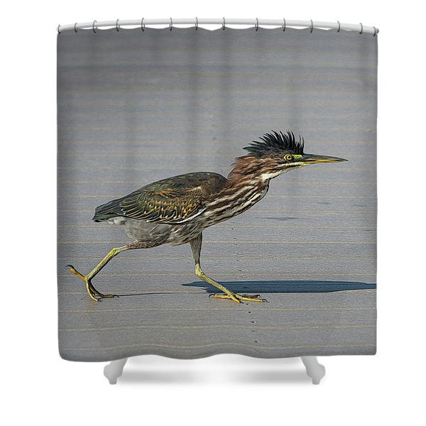 Green Heron On A Mission Shower Curtain