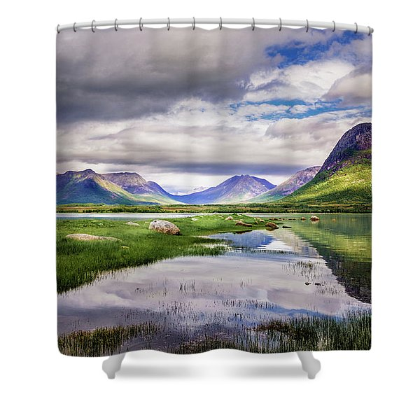 Green Hills Of Vesteralen Shower Curtain