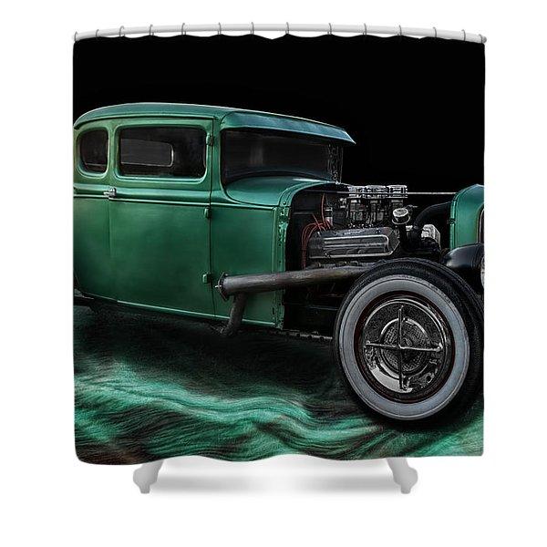 Green Hot Rod Shower Curtain