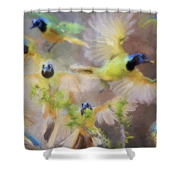 Green Jay Collage Shower Curtain