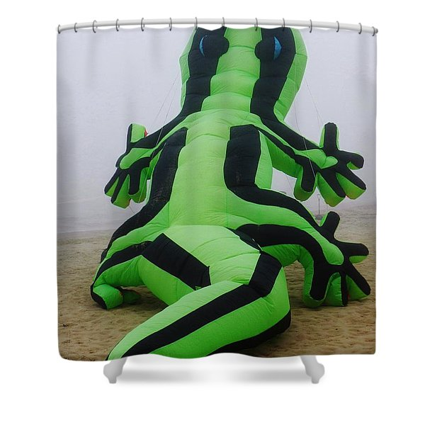 Green Lizard Kite Shower Curtain