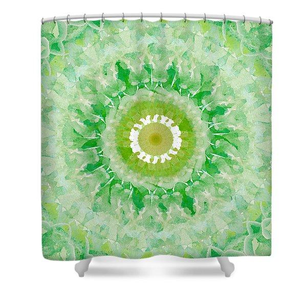 Green Mandala- Abstract Art By Linda Woods Shower Curtain