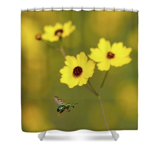 Green Metallic Bee Shower Curtain