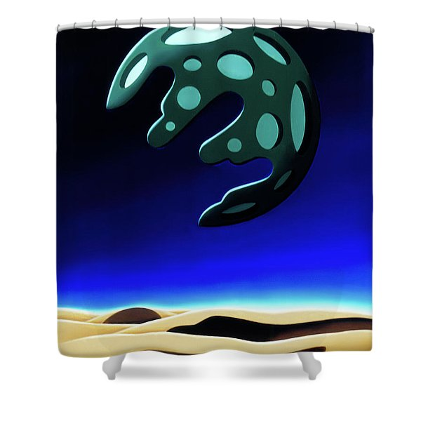 Green Moon Rising Shower Curtain