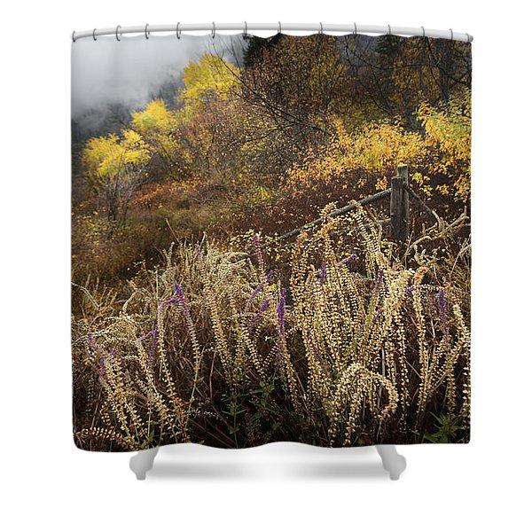 Green Mountain Dawn Shower Curtain