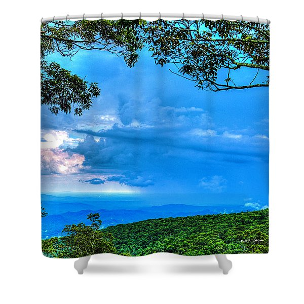 Green Mountain Storm Shower Curtain