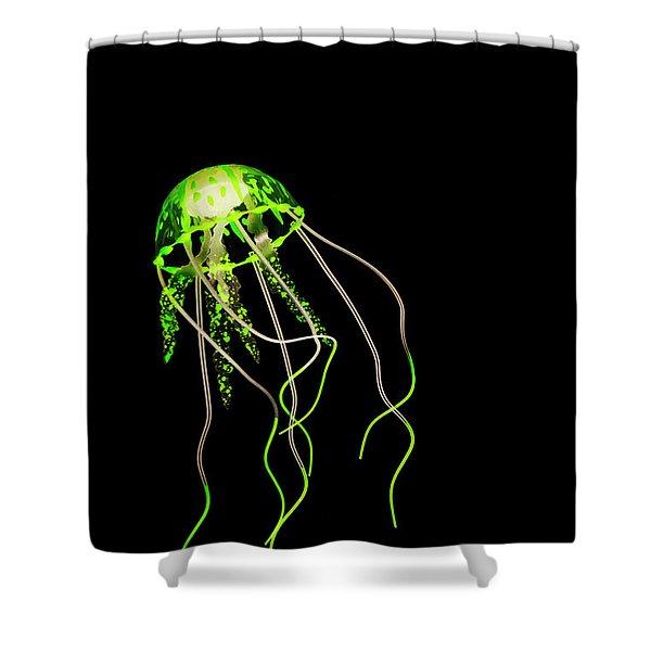 Green Neon Jellyfish Shower Curtain