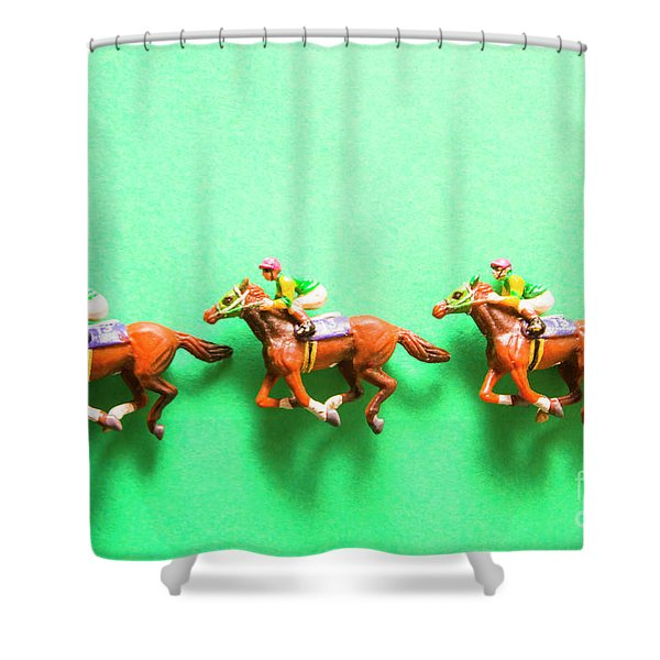 Green Paper Racecourse Shower Curtain