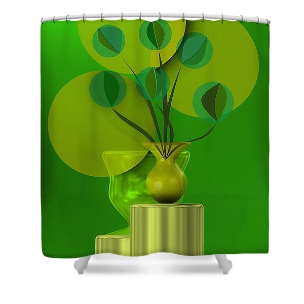 Green Still Life With Abstract Flowers, Shower Curtain