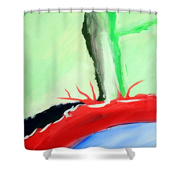 Green Tree Red Ridge Shower Curtain
