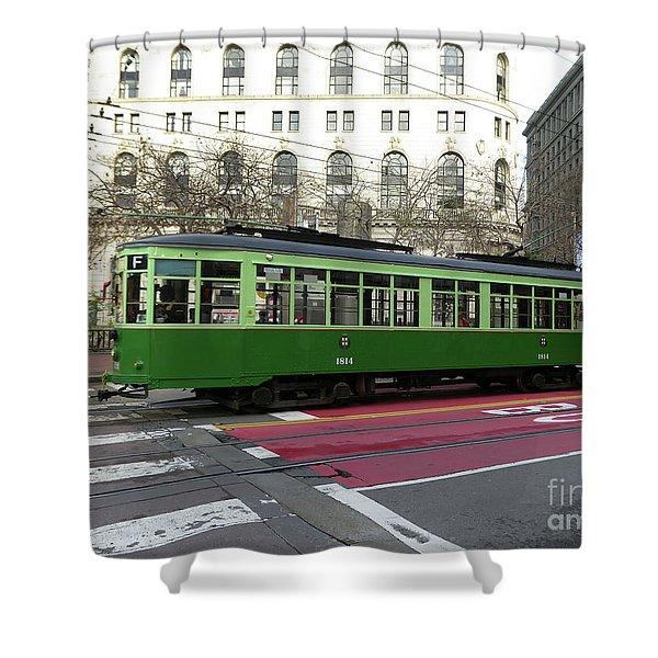 Green Trolley Shower Curtain