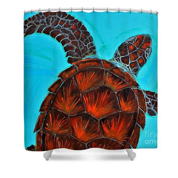 Green Turtle Crousing IIi Shower Curtain