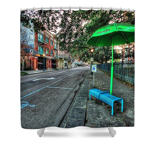 Green Umbrella Bus Stop Shower Curtain