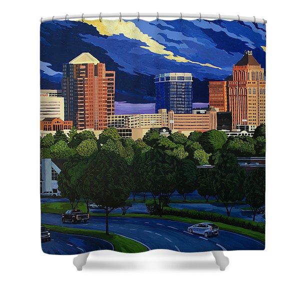 Greensboro Skyline In The Sunshine Shower Curtain