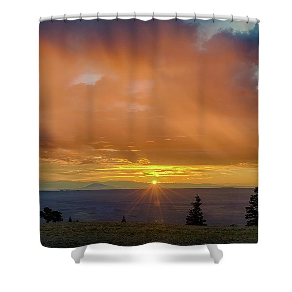 Greet The Marble View Morning Shower Curtain