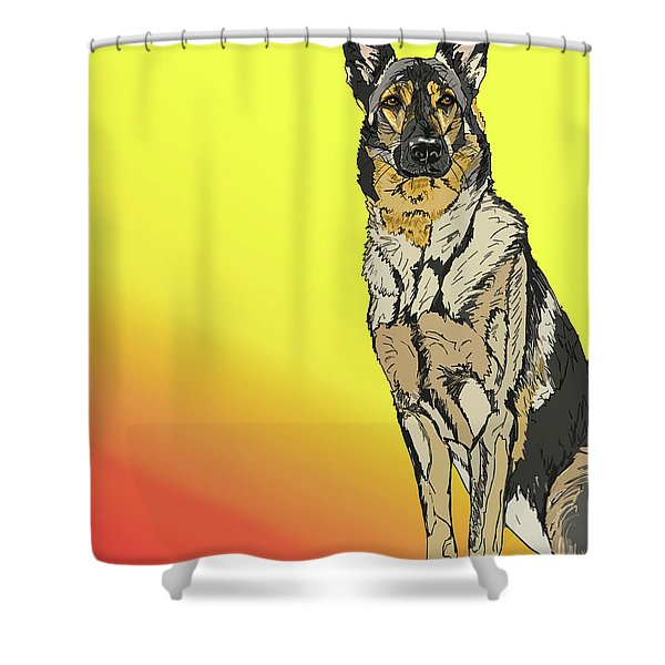 Gretchen In Digital Shower Curtain