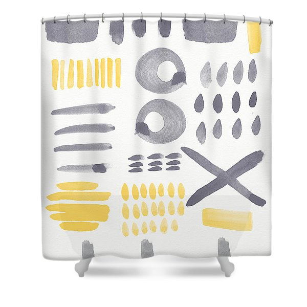 Grey And Yellow Shapes- Abstract Painting Shower Curtain