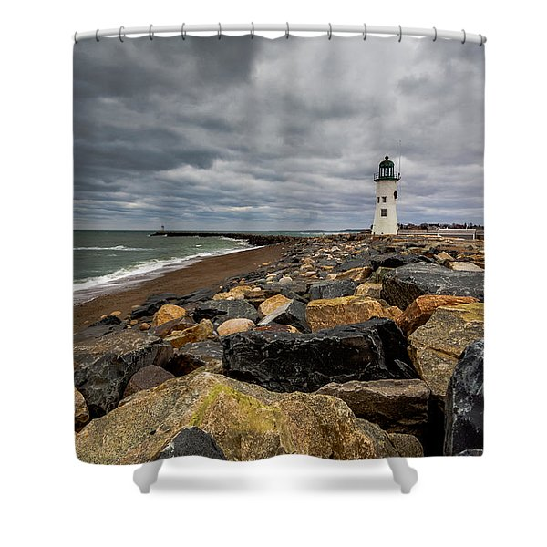 Grey Day At Scituate Lighthouse Shower Curtain