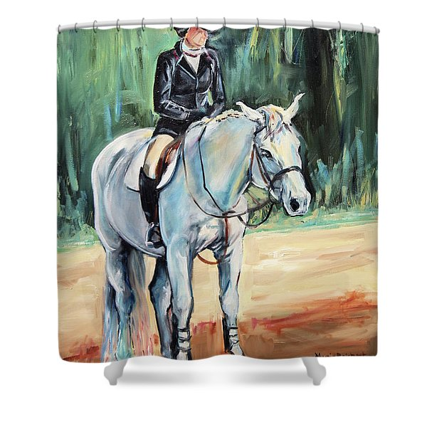Grey Hunt Seat Horse Shower Curtain